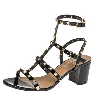 Valentino Black Patent Leather Rockstud Caged Sandals Size 39.5