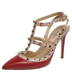 Valentino Red/Beige Leather Rockstud Pointed Toe Sandals Size 36.5