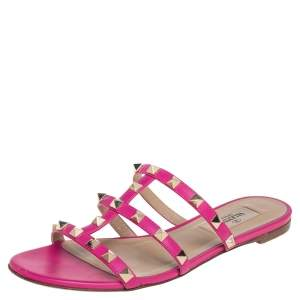 Valentino Pink Leather Rockstud Caged Flats Size 35.5