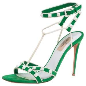 Valentino Green/White Suede And Leather Rockstud Strappy Sandals Size 37