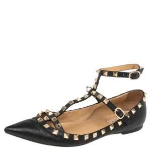 Valentino Black Leather Rockstud Ankle Strap Ballet Flats Size 38