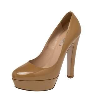 Valentino Beige Patent Leather Platform Pumps Size 39.5