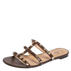 Valentino Brown Leather Rockstud Flat Sandals 40