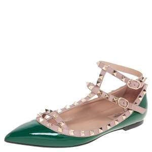 Valentino Green/Beige Patent Leather Rockstud  Ankle Strap Ballet Flats Size 39