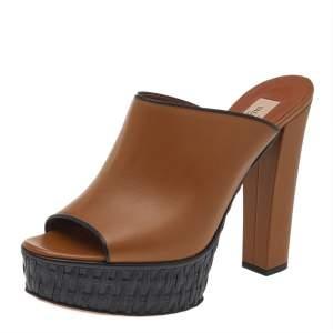 Valentino Brown/Black Leather Platform Sandals Size 38.5