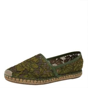 Valentino Green Lace And Leather Trim Espadrille Flats 38