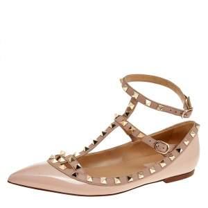 Valentino Pink Patent Leather Rockstud Flat Sandals Size 38