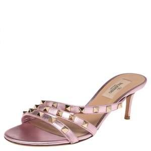 Valentino Metallic Pink Leather Rockstud Slide Sandals Size 36.5