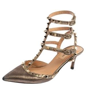 Valentino Metallic Bronze Leather Rockstud Ankle Strap Pointed Toe Sandals Size 38