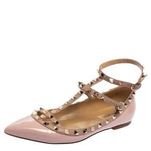 Valentino Pink Patent Leather Rockstud Caged Ballet Flats Size 39.5