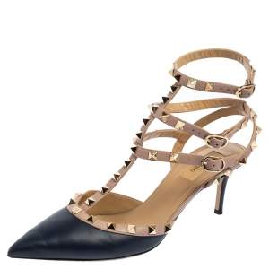 Valentino Pink/Navy Blue Leather Rockstud Strappy Sandals Size 40