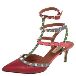 Valentino Multicolor Leather Rockstud Ankle Strap Sandals Size 37