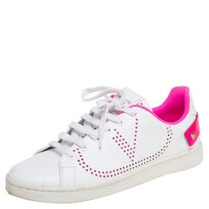 Valentino White/Pink Leather  V-Logo Sneakers Size 39