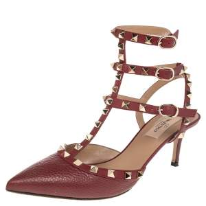Valentino Burgundy Leather Rockstud Pointed Toe Sandals Size 38
