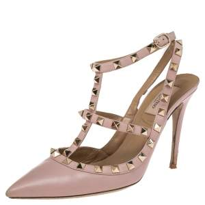 Valentino Pink Leather Rockstud Pointed Toe Ankle Strap Sandals Size 39