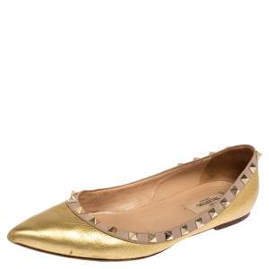 Valentino Metallic Gold Leather Rockstud Ballet Flats Size 38