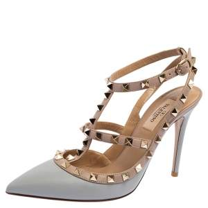Valentino Pink/Blue Leather Rockstud Pointed Toe Sandals Size 38