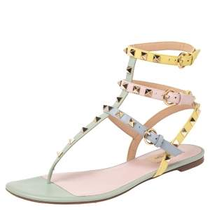 Valentino Multicolor Leather Rockstud Thong Ankle Strap Flat Sandals Size 39