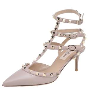 Valentino Beige Leather Rockstud Pointed Toe Ankle Strap Sandals Size 36