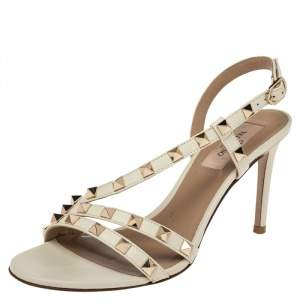 Valentino White Leather Rockstud Thong Flat Sandals  Size 36