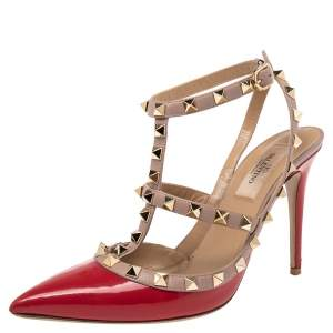 Valentino Red/Beige Patent Leather Rockstud Pointed Toe Ankle Strap Sandals Size 37