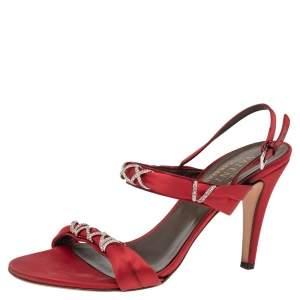 Valentino Red Satin Crystal Embellished Slingback Sandals Size 38