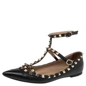 Valentino Black Leather Rockstud Caged Ballet Flats Size 37.5