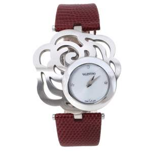 Valentino White Stainless Steel Rosier Baselworld V55 Women's Wristwatch 40 mm