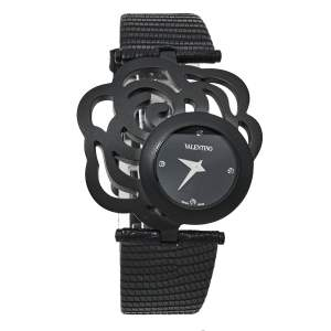 Valentino Black PVD Coated Stainless Steel Lizard Skin Leather Rosier Baselworld V55 Women's Wristwatch 25 mm