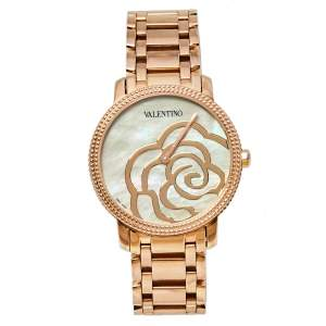 Valentino Mother of Pearl Rose Gold Plated Stainless Steel V56 Women's Wristwatch 36 mm