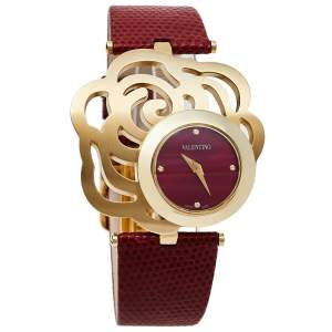 Valentino Red Yellow Gold Tone Stainless Steel Rosier Baselworld V55 Women's Wristwatch 25 mm
