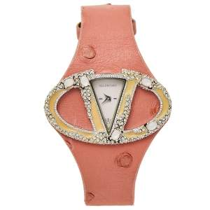 Valentino White Stainless Steel Ostrich Leather Oval V 8751120555 Women's Wristwatch 45 mm