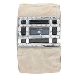 Valentino Black Stainless Steel Swarovski Crystal Leather Women's Wristwatch 39 mm