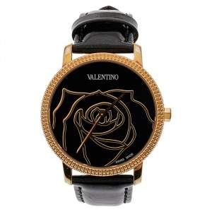 Valentino Black Rose Gold Plated Stainless Steel V56 Women's Wristwatch 36 mm