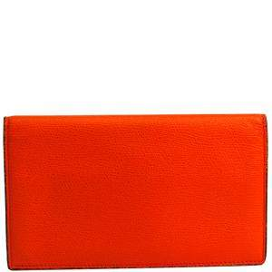Valextra Orange Leather Long Wallet