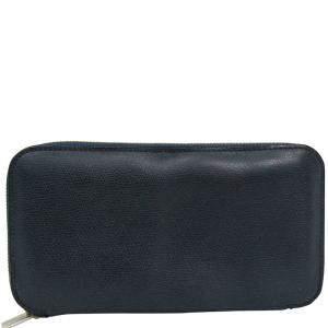 Valextra Dark Blue Leather Long Wallet