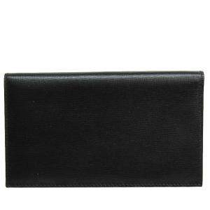 Valextra Black Leather Long Bifold Wallet