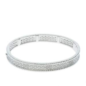 Van Cleef & Arpels Perlée Diamond 3 Row 18K White Gold Bracelet M