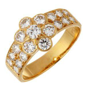 Van Cleef & Arpels Fleurette Diamonds 18K Yellow Gold Ring Size 50.5