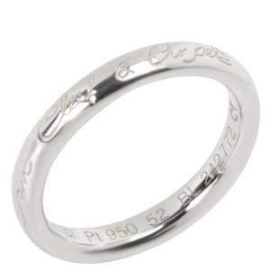 Van Cleef & Arpels Tendrement Signature Platinum Wedding Band Ring Size 52
