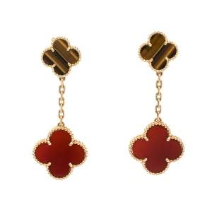 Van Cleef & Arpels Magic Alhambra Carnelian Tiger's Eye 2 Motifs 18K Yellow Gold Earrings