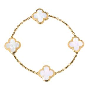 Van Cleef & Arpels Pure Alhambra 4 Motifs Mother Of Pearl 18K Yellow Gold Station Bracelet