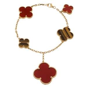 Van Cleef & Arpels Magic Alhambra 5 Motifs Carnelian Tiger's Eye 18K Yellow Gold Station Bracelet