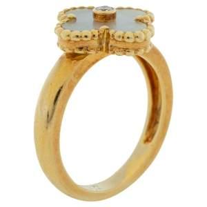 خاتم فان كليف & أبيرلز فينتدج ألهامبرا ذهب أصفر عيار 18 صدف ألماس مقاس 58