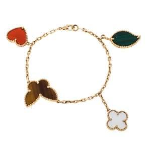 Van Cleef & Arpels Lucky Alhambra 4 Motifs 18K Yellow Gold Bracelet
