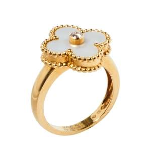 Van Cleef & Arpels Vintage Alhambra Diamond Mother of Pearl 18K Yellow Gold Ring Size 50