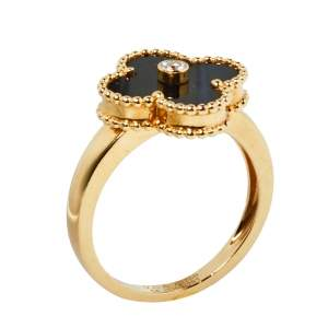 Van Cleef & Arpels Vintage Alhambra Diamond Onyx 18K Yellow Gold Ring Size 54