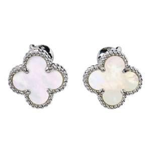 Van Cleef & Arpels Vintage Alhambra Mother of Pearl 18K White Gold Stud Earrings