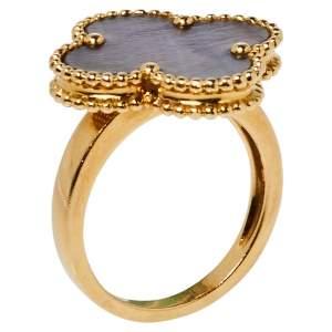 خاتم فان كليف أند أربلز ماجيك ألهامبرا صدف ذهب أصفر عيار 18 مقاس 53