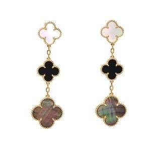 Van Cleef & Arpels Magic Alhambra Mother of Pearl Onyx 18K Yellow Gold Earrings